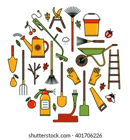 Vector Garden tool icons in circle. Isolated working equipments on white background. Design element for advertisement.