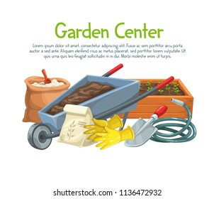 Vector gardening banner with gloves, seedlings, wheelbarrow, fertilizer, seedling, watering hose, gloves and shovel for design products garden center. Cartoon style.
