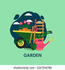Vector gardening banner with wheelbarrow, tools, flowers, watering can and stairs. Vector illustration for design garden center.