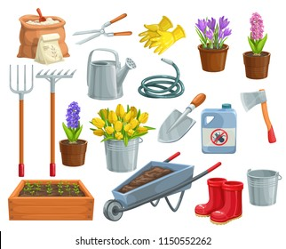 Vector gardening tools and flowers icons. Rubber boots, seedling, tulips, gardening can and cutter. Fertilizer, glove, crocus, insecticide, wheelbarrow, watering hose for garden center design