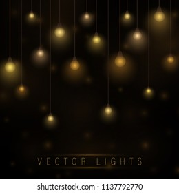 Vector garland of lamps on brown transparent background. Christmas lights isolated realistic design elements. Garlands decorations. Led neon lamp