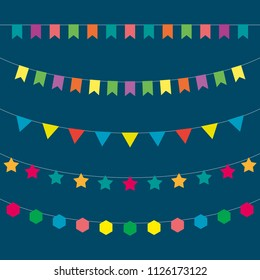 Vector garlands. Holiday decoration. Set of colorful paper garlands.  Garlands of flags.