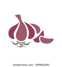 vector garlic illustration, organic food icon - vegetables symbol isolated