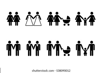 Vector gay family with children icons white. Couple men and women illustration