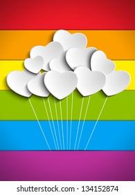 Vector - Gay Flag Hearts Balloons Background