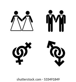 Vector gay wedding icons set white. Marriage love lesbian illustration.