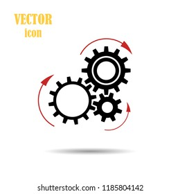 Vector gear arrows pointing the direction of rotation. Flat icon isolated on a white background. The concept of the Loading process. Application update. Work of mechanical parts. Design element for