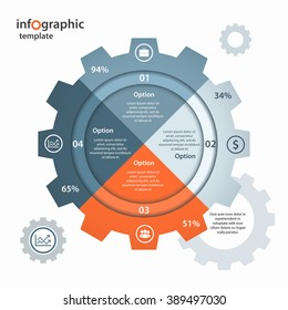 Vector gear circle infographic template. Business and industrial concept with 4 processes, options, parts, steps. Can be used for infographics, diagram, graph, presentation.