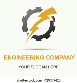Vector of gear and lightning logo, gear and lightning symbol or icon, gear and lightning illustration