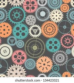 Vector gear seamless background