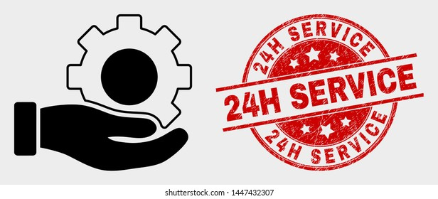Vector gear service hand pictogram and 24H Service seal stamp. Red rounded distress seal stamp with 24H Service caption. Vector composition in flat style. Black isolated gear service hand pictogram.