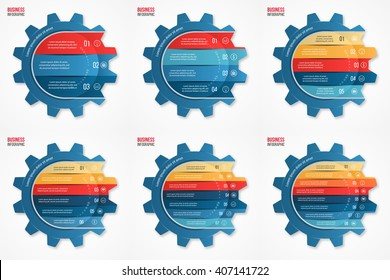 Vector gear style infographic set of templates for graphs, charts, diagrams and other infographics. Business concept with 3, 4, 5, 6, 7, 8 options, parts, steps, processes.