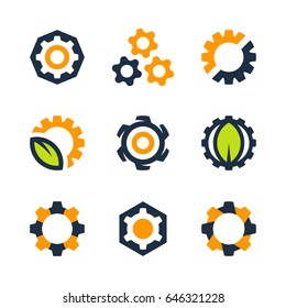 Vector gear wheel icons and logo design elements isolated on white background