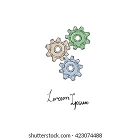 Vector gears icon. Doodle style.