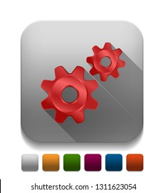 Vector Gears With long shadow over app button