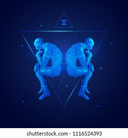 vector of gemini horoscope sign in twelve zodiac with galaxy stars background, graphic of polygon man thinking