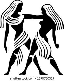 Vector Gemini Horoscope Symbol in black and white