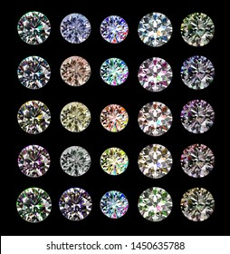 Vector Gemstones. Diamonds Set Clip Art. Multi Color Brilliant .