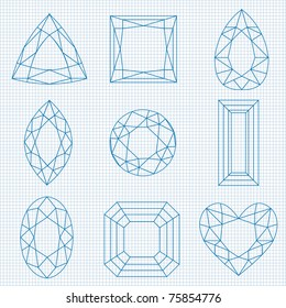 vector gemstones on graph paper