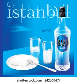 Vector generic bottle of national Turkish drink Raki with glasses and a plate of white cheese  poster design