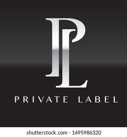 Vector generic white private label logo on black background