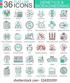 Vector Genetics and biochemistry flat line outline icons for apps and web design. Genetics chemical high technology icons