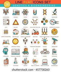 Vector Genetics and biochemistry technology flat line icon set. Modern elegant style design for web