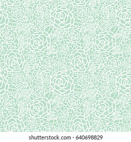 Vector gentle pastel mint green lace roses seamless repeat pattern background. Great for wedding or bridal shower decor, invitations, gifts.