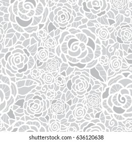 Vector gentle silver grey lace roses seamless repeat pattern background. Great for wedding or bridal shower decor, invitations, gifts.
