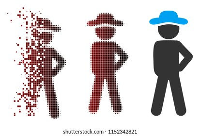 Vector gentleman audacity icon in fractured, dotted halftone and undamaged whole versions. Disappearing effect uses rectangular particles and horizontal gradient from red to black.