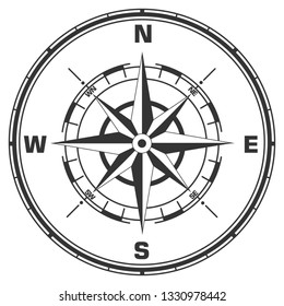 Vector geographic compass icon. Compass sign with wind rose. Illustration of compass symbol in flat minimalism style.