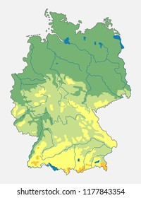 Vector Geographic Map Germany Topographic Map Stock Vector (Royalty ...