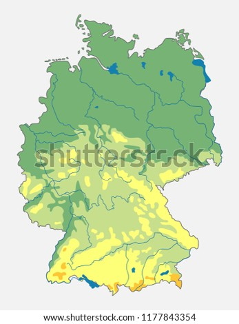 Map Of Germany Mountains.Vector Geographic Map Germany Topographic Map Stock Vector Royalty