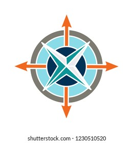 vector geography compass isolated icon - north illustration sign . longitude navigation sign symbol