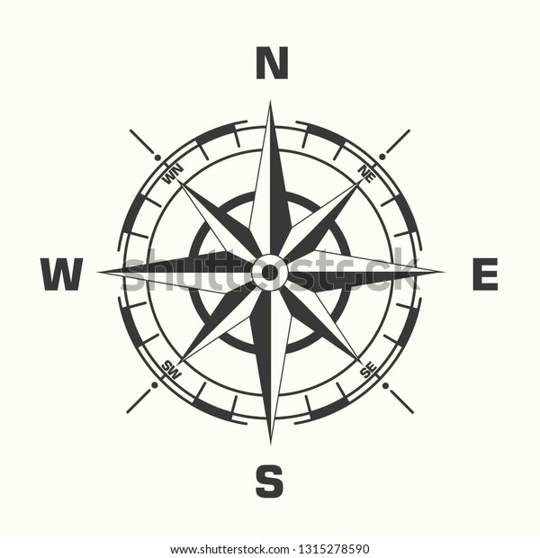 Vector Geography Science Compass Sign Icon Stock Vector