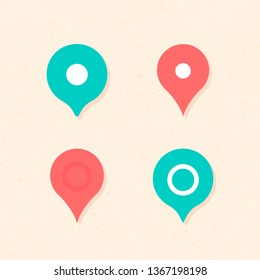 Vector geolocation sings isolated on light colored background. Flat geo tag green and red pin icon set. Design for ui of modern style application, map, banner, poster, signboard. Mark for navigation.