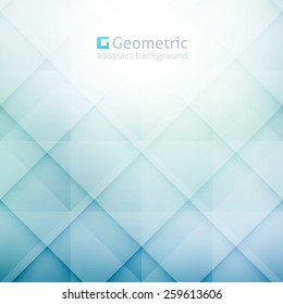 vector geometric abstract background with rhombus shapes, light blue color