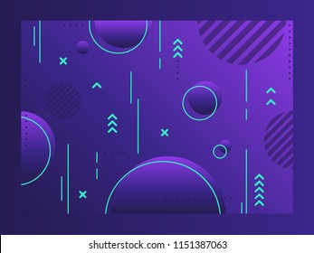 Vector geometric abstract background with trendy patterns and dynamic composition. Future geometric patterns. Colorful halftone gradients. Eps10 vector.