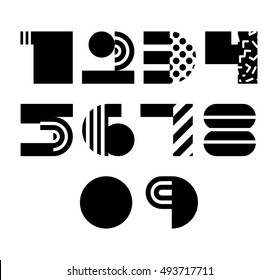 Vector Geometric Abstract Numbers Isolated. 90s 80s Style
