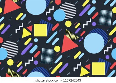 Vector geometric abstract pattern in the style of Memphis. Fashion 80-90's. Retro-style. Different geometric shapes of bright pastel color on dark background. Fashionable modern design.