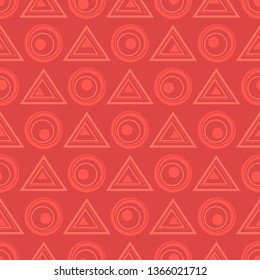 Vector geometric abstract seamless pattern of contour triangles and circles.