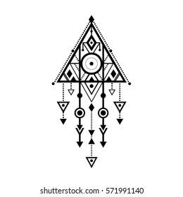 Vector geometric alchemy print. Bohemian ethnic ornament. Sacred geometry, esoteric or mystic shapes and symbols. Magic tribal vector illustration