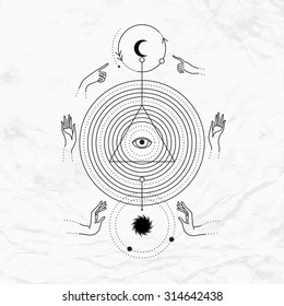 Vector geometric alchemy symbol with circles, eye, moon, sun, hands, triangle shape. Abstract occult and mystic signs. Linear logo and spiritual design. Concept of magic, astrology, wisdom, kabbalah