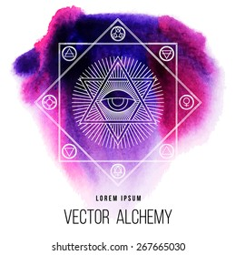 Vector geometric alchemy symbol with eye, sun, David star, shapes and abstract occult and mystic signs. Linear logo and spiritual design. Concept of magic, creativity, religion, astrology, masonry