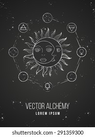 Vector geometric alchemy symbol with sun, moon, shapes and abstract occult and mystic signs. Linear logo and spiritual design on chalkboard. Concept of magic, creativity, astrology, man, woman, family