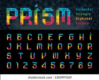 Vector of Geometric Alphabet Letters and numbers, Abstract Colorful Prism Font triangle shape, Modern Pixel Letters set for Design, Technology, Hi-tech, digital