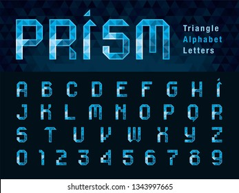 Vector of Geometric Alphabet Letters and numbers, Abstract Blue Prism Font triangle shape, Modern Pixel Letters set for Design, Technology, Hi-tech, digital, Diamond