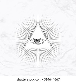 Vector geometric ancient alchemy symbol with eye, pyramid, shapes. Abstract occult and mystic signs. Linear logo and spiritual design. Concept of imagination, magic, creativity, religion, astrology