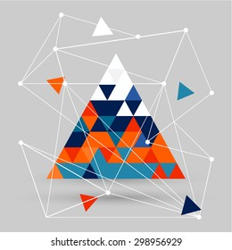 vector geometric background with colored polygons and lines