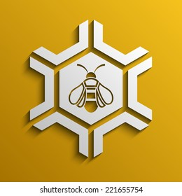 Vector geometric background with the image of a bee, Vector illustration Eps 10